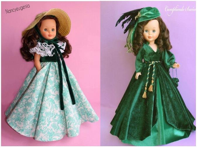 76a7fa3b051 El primero es réplica de Escarlata O´Hara – Vestido blanco y verde con  sombrero. El segundo es réplica de Escarlata O´Hara – Vestido cortinas  terciopelo ...